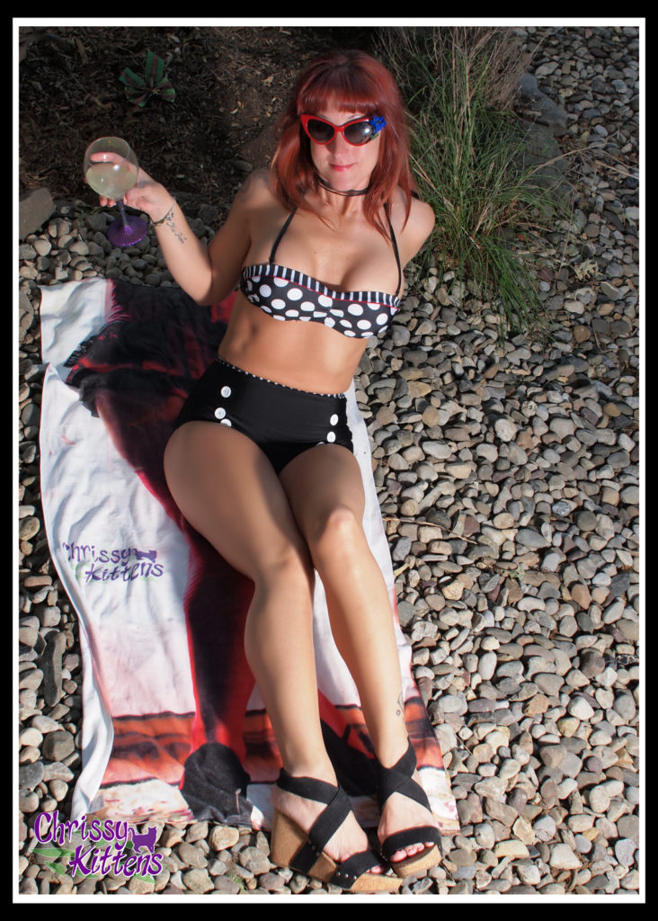 6-18-16-Chrissy-Kittens-Polka-Dot-Bathing-Suit-by-pond-15